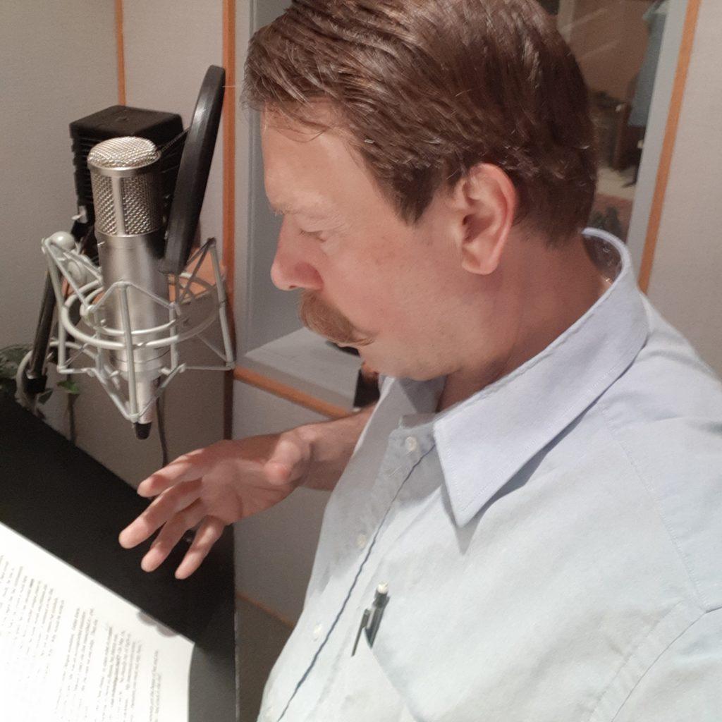 Conrad recording Still Speaking, a radio show