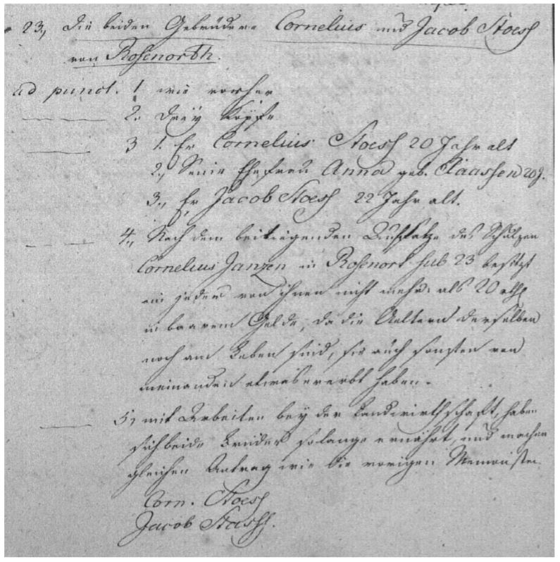 The emigration application for two brothers, Jacob and Cornelius Stoesz, of Rosenort (in the Gross Werder), West Prussia, dated 31 October 1803. Jacob did not immigrate to Russia until 1817 and Cornelius never did. The original record would have also had their signatures (Berlin Geheimes Staatsarchiv Preussischer Kulturbesitz I HA Rep7B file 4176 page 00533). Photo credit: Glenn Penner.