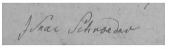 Photo 2: The 1783 signature of Isaac Schroeder (1738-1789) in the property records of Klein Lubin, West Prussia.4