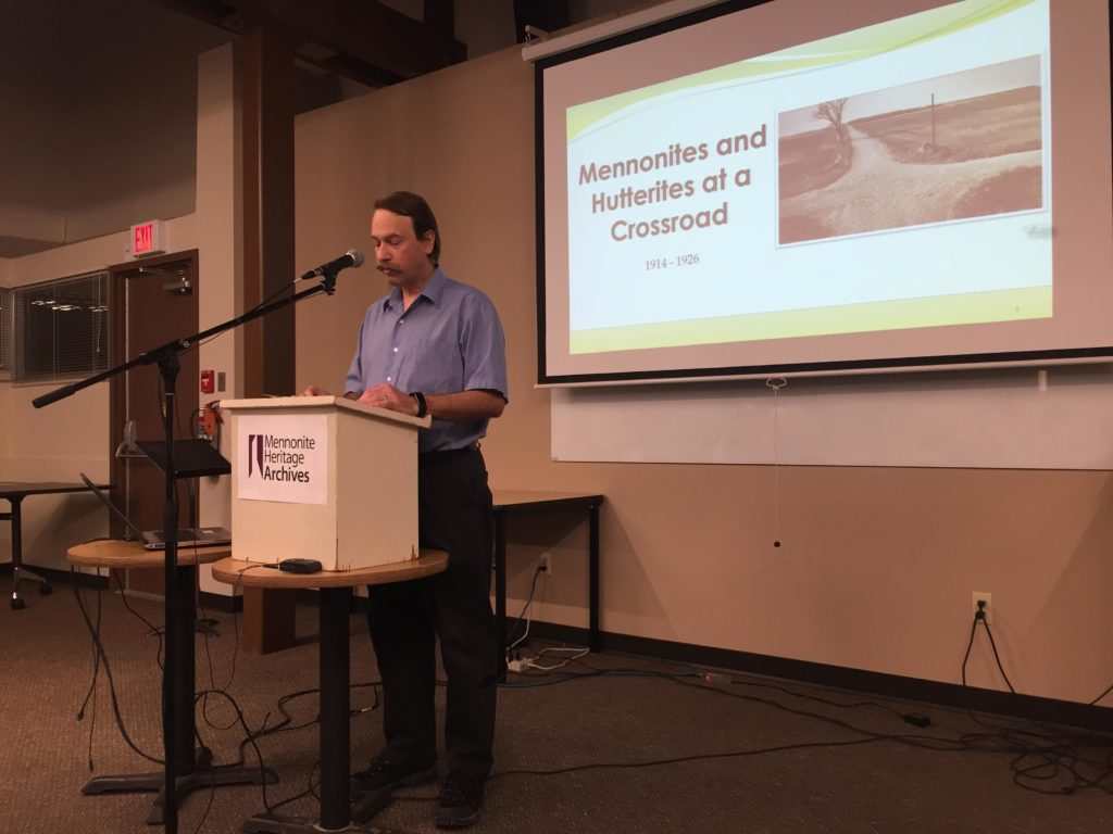 "Conrad providing introductions at ""Mennonites and Hutterites at a Crossroad 1914-1926"" Public Lecture on November 7, 2019"