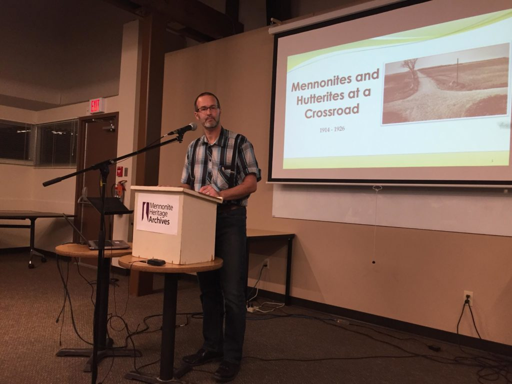 "Ian Kleinsasser presenting at ""Mennonites and Hutterites at a Crossroad 1914-1926"" Public Lecture on November 7, 2019"