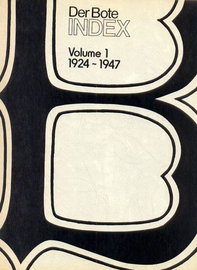 Der Bote Index Vol. 1 Cover